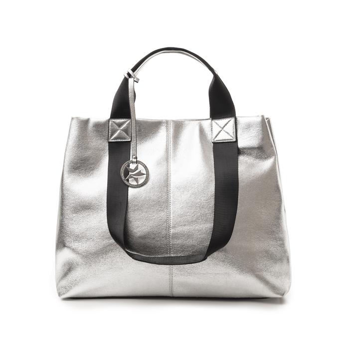 Maxi-bag argento in laminato, Borse, 132384211LMARGEUNI