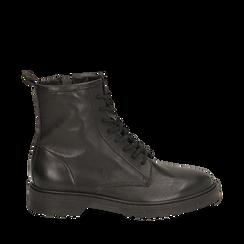 Botas militares de piel en color negro, Primadonna, 157710831PENERO035, 001a