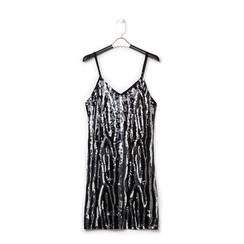 Mini-dress nero zebrato, Abbigliamento, 13A200002PLNEROL, 001 preview
