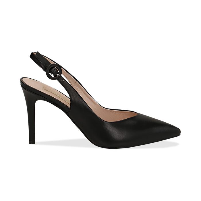 Slingback negro de piel, tacón 9 cm, Zapatos, 15D601002VINERO037