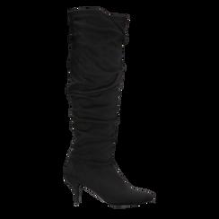 Stivali neri scamosciati con gambale drappeggiato, tacco medio 4 cm, Primadonna, 122707336MFNERO, 001 preview