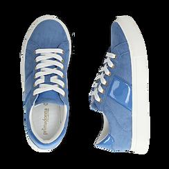 Sneakers azzurre in microfibra, Scarpe, 152619072MFAZZU035, 003 preview