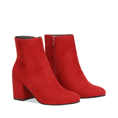 Ankle boots bordeaux in microfibra, tacco 7,5 cm , Stivaletti, 142762715MFBORD036, 002a