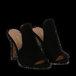 Mules nere in microfibra, tacco stiletto 10 cm, Primadonna, 134833121MFNERO035, 002a