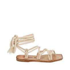 Sandales en tissu crème, Primadonna, 17A131482TSPANN035, 001a
