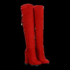 Stivali sopra il ginocchio rossi, tacco 10,5 cm, Primadonna, 122179696MFROSS036, 002