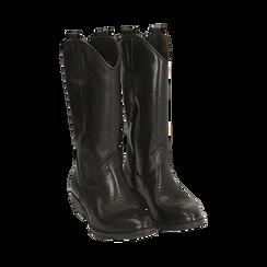 Camperos neri in pelle, tacco 4 cm , Primadonna, 168900060PENERO036, 002 preview
