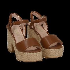 Sandali cuoio in eco-pelle con plateau, tacco 11 cm , Saldi Estivi, 133401986EPCUOI035, 002a