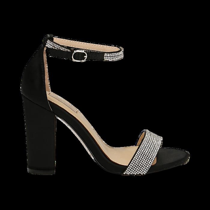 Sandali neri in raso con mini cristalli, tacco 10,5 cm, Scarpe, 132150553RSNERO035
