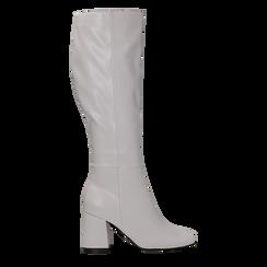 Stivali bianchi punta arrotondata, tacco 7,5 cm, Primadonna, 122182011EPBIAN, 001 preview