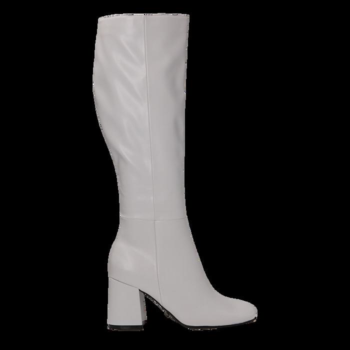 Stivali bianchi punta arrotondata, tacco 7,5 cm, Primadonna, 122182011EPBIAN