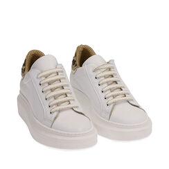 Baskets en cuir blanc/marron, Primadonna, 17L600103PEMARR035, 002a
