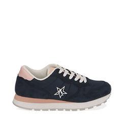 Sneakers blu in tessuto , Scarpe, 170620011TSBLUE035, 001a