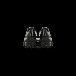 Francesine stringate nere con tacco multistrato basso, Scarpe, 120608956ABNERO, 003 preview