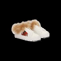 Sneakers bianche con ricami animalier e dettagli in faux-fur, Primadonna, 126102020EPBIAN035, 002