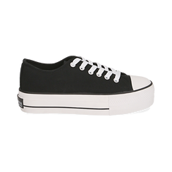 Baskets noir en toile, Chaussures, 152619385CANERO040, 001 preview