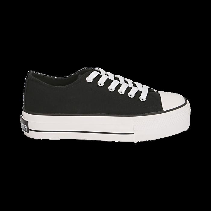 Baskets noir en toile, Chaussures, 152619385CANERO040