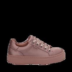 Sneakers nude in tessuto, suola 4 cm  , Scarpe, 142509512TSNUDE036, 001a