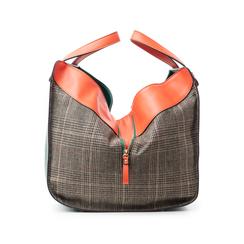 Borsa grande arancio in eco-pelle con dettagli in tweed , Borse, 142400200EPARANUNI, 003 preview