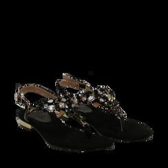 Sandali gioiello infradito neri in microfibra, Primadonna, 134994221MFNERO035, 002a