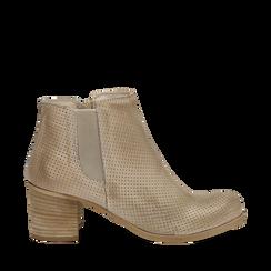 Chelsea boots traforati beige in vitello, tacco 6 cm , Scarpe, 138900600VIBEIG035, 001a