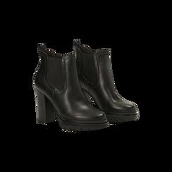 Chelsea Boots neri con plateau e tacco 9,5 cm, Scarpe, 128401247EPNERO, 002 preview