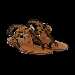 Sandali infradito neri in eco-pelle con dettaglio leopard, Primadonna, 135201202EPNERO036, 002 preview