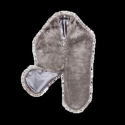 Coprispalla in eco-pelliccia grigia, Saldi, 12B414001FUGRIGUNI, 001 preview