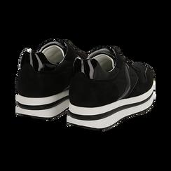 Sneakers nere in microfibra con maxi-suola platform, Scarpe, 132899261MFNERO036, 004 preview