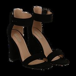 Sandali neri in mircofibra, tacco colonna 10, 50 cm , Sandali con tacco, 132760832MFNERO037, 002 preview