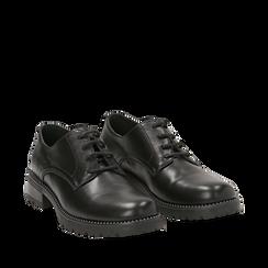 Stringate nere in eco-pelle con perline sulla suola, Scarpe, 140691312EPNERO037, 002a