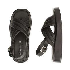 Sandalias negras, cuña 4 cm, Primadonna, 17A121336EPNERO035, 003 preview