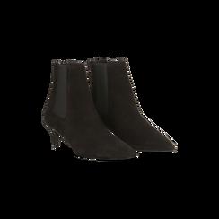 Stivaletti Chelsea neri in vero camoscio, tacco midi 6 cm, Primadonna, 12D618401CMNERO036, 002 preview