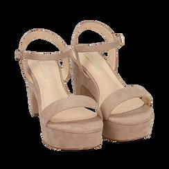Sandalias en microfibra color beige, tacón cuña 8,50 cm, SABOT DE TACÓN ALTO, 154955200MFBEIG035, 002a
