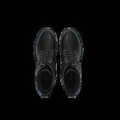Anfibi neri con catenelle, tacco basso, Scarpe, 120618152EPNERO, 004 preview