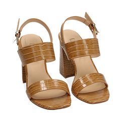 Sandali beige stampa cocco, Scarpe, 154821431CCBEIG035, 002a