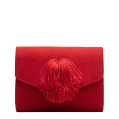 Pochette rossa scamosciata con pon-pon, Primadonna, 123369415MFROSSUNI, 001a