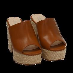 Mules cuoio in eco-pelle, tacco-zeppa 11 cm , Zapatos, 154903266EPCUOI036, 002a