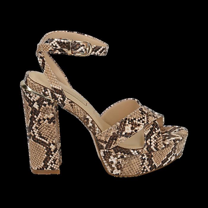 Sandalias en eco-piel con estampado de serpiente y plataforma color beige, tacón 12 cm , Zapatos, 152133001PTBEIG