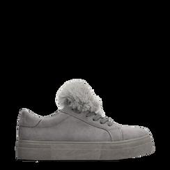 Sneakers grigie con pon pon in eco-fur, Primadonna, 121081755MFGRIG035, 001a