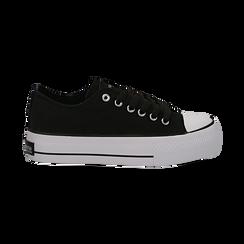 Sneakers bianche in canvas, platform 4 cm, Scarpe, 132619385CANERO038, 001 preview
