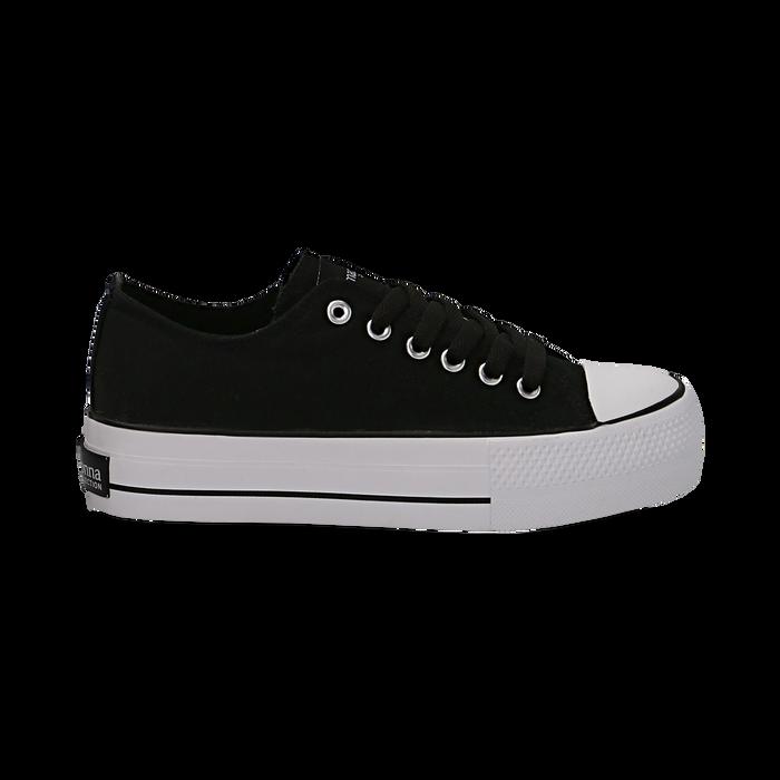 Sneakers bianche in canvas, platform 4 cm, Scarpe, 132619385CANERO038