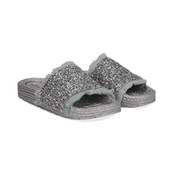 Ciabattine argento in pvc con glitter,