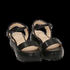 Sandali neri in eco-pelle, zeppa 5 cm , Zapatos, 159790131EPNERO038, 002a