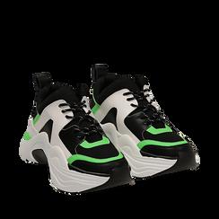 Dad shoes nero/verdi in tessuto tecnico, zeppa 8 cm , Scarpe, 147580471TSNEVE035, 002a
