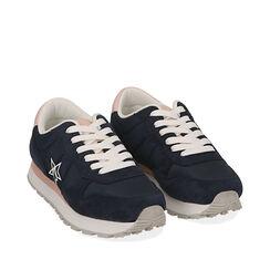 Sneakers blu in tessuto , Scarpe, 170620011TSBLUE035, 002a