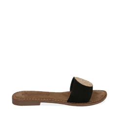 Ciabatte nere in camoscio , Chaussures, 15K808250CMNERO035, 001a