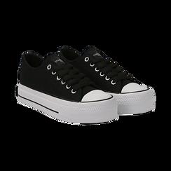 Sneakers bianche in canvas, platform 4 cm, Scarpe, 132619385CANERO036, 002 preview