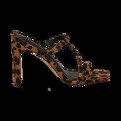 Sandali con punta quadrata leopard in microfibra, tacco 10 cm, Scarpe, 131785322MFLEOP035, 001 preview