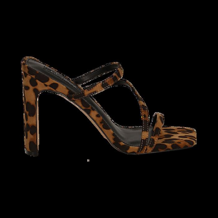 Sandali con punta quadrata leopard in microfibra, tacco 10 cm, Scarpe, 131785322MFLEOP035